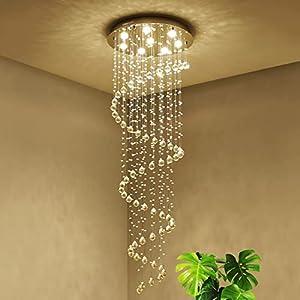 Saint Mossi Modern K9 Crystal Spral Raindrop Chandelier Lighting Flush Mount LED Ceiling Light Fixture Pendant Lamp for Dining Room Bathroom Bedroom Livingroom 8 GU10 Bulbs Required D24 X H69