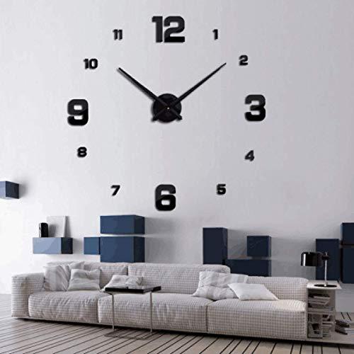 KDJAMI DIY 3D Wanduhr Aufkleber Home Office Wohnzimmer Schlafzimmer Uhr Geschenk Dekoration (Black)