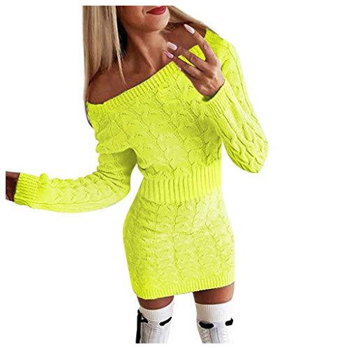 Maleya Damen Mid-Autumn und Winter Damen Long Twisted Sweater Kleider Frauen beiläufige Feste V-Ansatz Lange Hülsen-Knopf Oben gerippte...