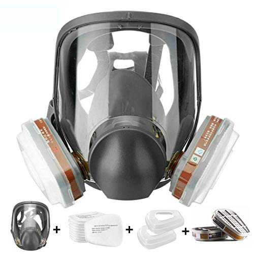 15 in 1 Reusable Full Face Cover& Organic Vapor Respirator,Anti-Fog Respiratory Supplies Wide Field of View,Suitable for Spray Paint, Coating, Chemical Industry, Welding