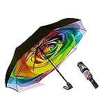 MRTLLOA Inverted Umbrellas Reverse Folding Umbrella Windproof UV Protection Compact Umbrella for Travel Outdoor Daily Use (rose umbrella)