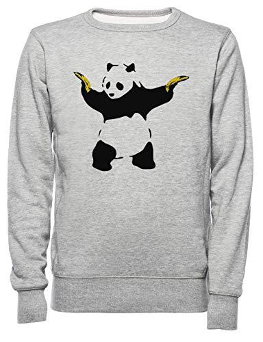 Schlecht Panda Schablone Herren Damen Unisex Sweatshirt Jumper Grau Größe XL - Women's Men's Unisex Sweatshirt Jumper Grey
