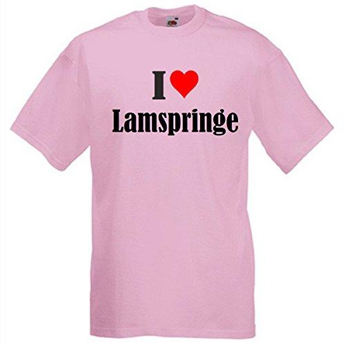 Camiseta con texto 'I Love Lamspringe para mujer, hombre y niños en los colores negro, blanco y rosa. rosa M
