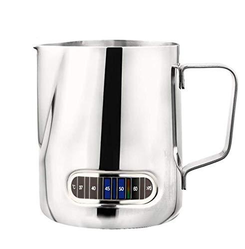 KZGRIT Milchkännchen, Milchkanne aus Edelstahl, Milk Pitcher mit Thermometer für Espressomaschinen & Cappuccino, Latte Art, Kaffeemachen (600 ml/20 oz, Silber)