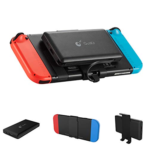 GULIkit Batterie Externe 10000mAh Power Bank avec Support Arrière Détachable pour Nintendo Switch, 2 Ports(USB C & USB) Chargeur Portable pour Smartphone iPhone Samsung iPad Tablette