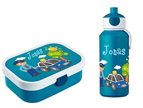 Mein Zwergenland Brotdose Mepal Campus inkl. Bento Box und Gabel + Campus Pop-up Trinkflasche mit Namen Blau, Polizei