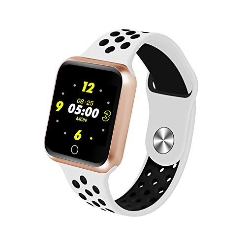 Alician S226 Smart Horloge Fitness Tracker Hartslagmeter Smart Armband Bloeddruk Stappenteller, Gouden schaal + witte zwarte band