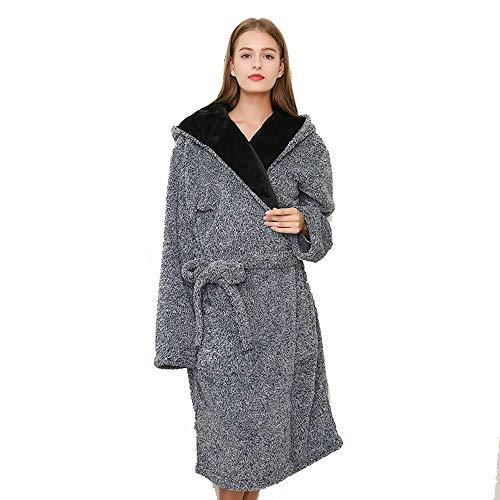 Tokyia Mantener Caliente Mujer de Invierno camisón Pijama de Franela Gruesa Larga de Las señoras Albornoz Albornoz Polar de Coral Pueden ser Usados Fuera de Homewear, M Bata de baño