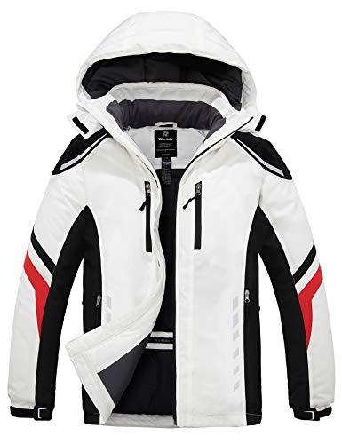Wantdo Men's Snowboarding Jackets Waterproof Rain Jacket Wind Resistant Short Winter Parka Dark White XL