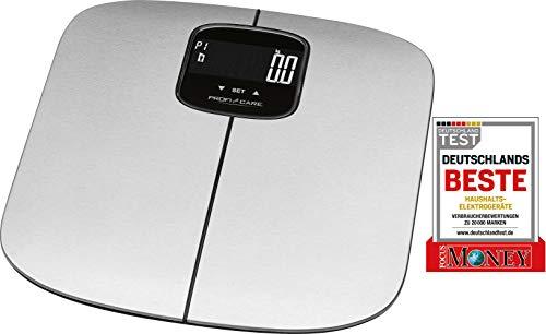 ProfiCare PC-PW 3006 FA 7in1 Elektronische Edelstahl-Personenwaage zur Analyse von Gewicht, Körperfettanteil, Wasseranteil, Muskelmasse, Knochenmasse, Kalorienbedarf, BMI