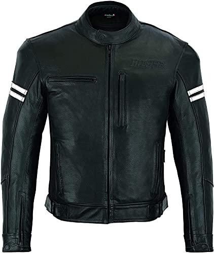 BI ESSE - Chaqueta para moto de piel, hombre, vintage, café race, con protecciones CE (negro/blanco, 4XL)