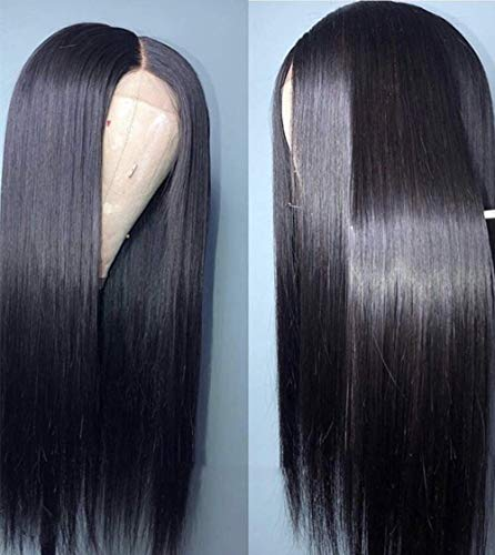 FENJUN 13x4 Synthetic Lace Front Wigs with Baby Hair Pre plucked Frontal Natural Black Color #1B Middle Part Cosplay Wigs for Women 20 Inches