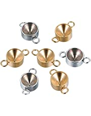 UNICRAFTALE 2 Colors About 24pcs Flat Round Stainless Steel Connector Pendant Fit for 6.5mm Pointed Back Rivoli Rhinestone Linking Charm Connector for Jewelry Making Golden & Stainless Steel Color