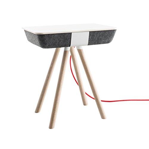 Conmoto PAD bijzettafel met laadfunctie, grijs vormfleece, CCL plaat wit frame eiken wit geolied incl. 3-voudige stekkerdoos
