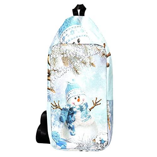 Cangurera Bolso Bandolera Bolso Mensajero Hombre Bolsos de Hombre Bolsos Cruzados Bolso Casual para Trabajo Viaje Árbol de Navidad Muñeco de Nieve Snowflake Bells Regalo