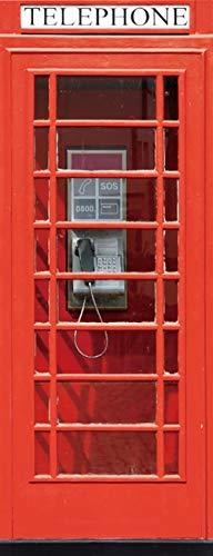 Vinilos para Puertas Cabina de Teléfono Roja Papel Pintado Póster Autoadhesiva Extraíble Impermeable Decorativas de pegatinas puertas para Cuarto y Baño 77x200cm