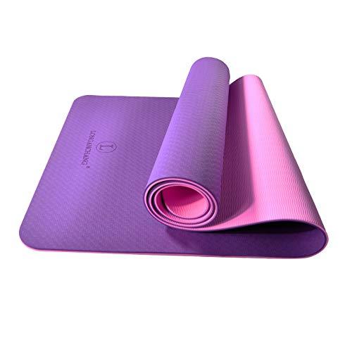 L LONGANCHANG Yogamatte, TPE Yoga Matte Gymnastikmatte Sportmatte Fitnessmatte rutschfest, Turnmatte für Naturkautschuk Yoga Pilates Fitness mit Handtuch und Tragetasche, 183 x 61 x 0.6CM, Violett