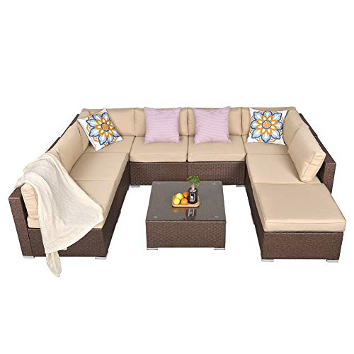 SUNVIVI OUTDOOR 9 Piece Outdoor Patio Furniture Sets, All Weather Brown PE Wicker Furniture Set, Patio Sectional Conversation Sofa Set with Coffee Table, Removable Beige Cushions