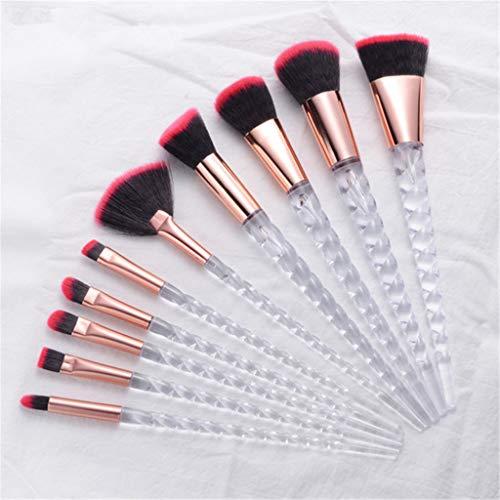 Pinceaux de maquillage Ensembles visage/yeux ovales haut de gamme Brosse Voyage pour les femmes 10 PCS- vie quotidienne cosmétique Poignée Transparent outil,Rouge