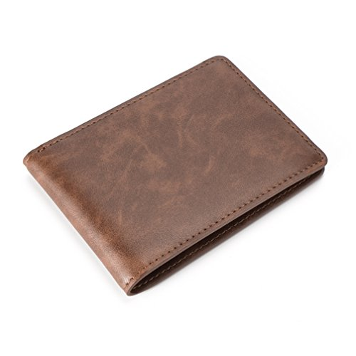 Mens Slim Front Pocket Wallet ID Window Card Case with RFID Blocking - Coffee