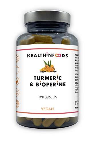 Healthinfoods   Curcuma et Bioperine   Curcuma Biologique au Poivre Noir   Effet Anti-Inflammatoire et Antioxydant   Vegan   120 Capsules