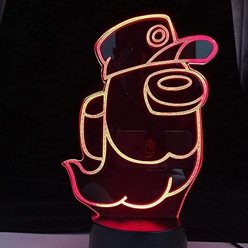 3D anime ilusión lámpara led noche luz juego Entre nosotros para decorar la habitación Cool Entre nosotros fantasma lámpara de mesa acrílico niños regalos de cumpleaños