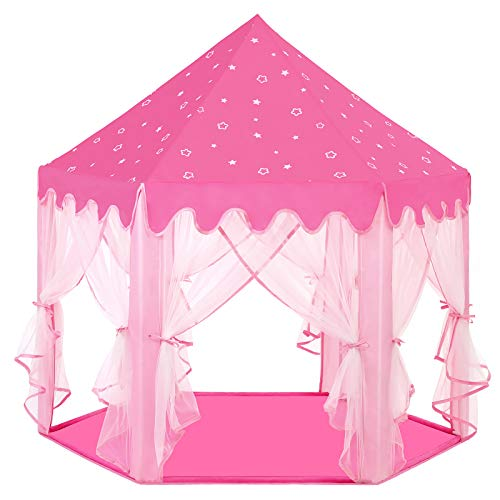 SONGMICS Princess Castle, Kids Play Tent with Fairy Netting, Carry Bag, Indoor and Outdoor Use, Private Space for Up to 3 Kids, 140 x 120 x 135 cm, Pink LPT601P01