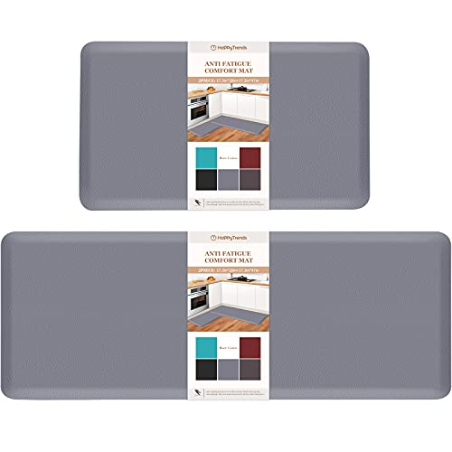 HappyTrends Kitchen Mat [2PCS] Cushioned Comfort Anti-Fatigue Floor Mat, Waterproof Non-Slip Kitchen Rugs, Thick Perfect Ergonomic Foam Standing mat for Kitchen, Home, Office, Laundry,Grey