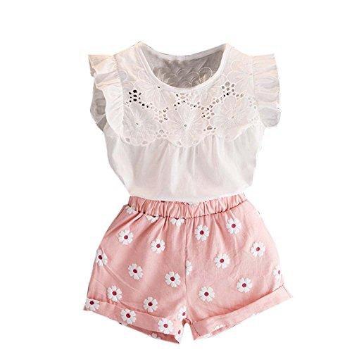Ropa Niña Verano 2 a 3 4 5 6 7 años - 2PC/Conjunto - Camiseta Manga Corta Flor Volando + Pantalones Corto