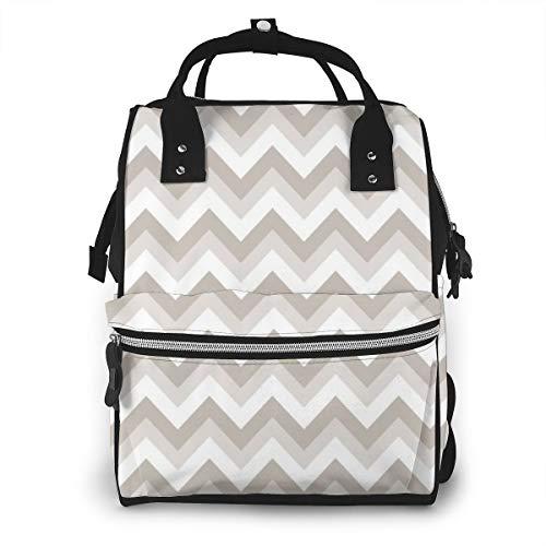 Mochila multifunción para mamá Zig Zag en color blanco y negro para cambiar pañales, bolsa de maternidad, mochila impermeable de viaje de gran capacidad