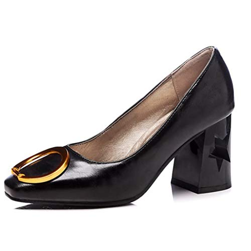 Women's Classic Square Toe Pumps Shoes Pointy Toe Buckle Slip-On High Chunky Heel Party Dress Shoes Loafers Black