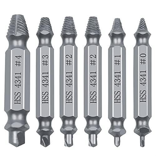 El ajuste del extractor de extractor de tornillo dañado de 6 piezas se prepara fácilmente para sacar el tornillo roto, el removedor de perno removedos de los tornillos despojados de las herramientas d