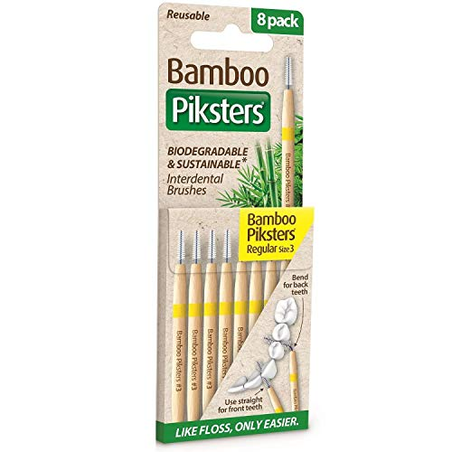 Bamboo Piksters Interdental Brushes | Sizes 00-6 | 8 Pack (8 Pack, Size 3 (Yellow))