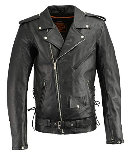 Milwaukee Leather LKM1711TALL Men's Black Tall-Sizes Side Lace Police Style Leather Jacket with Gun Pockets - Small-Tall