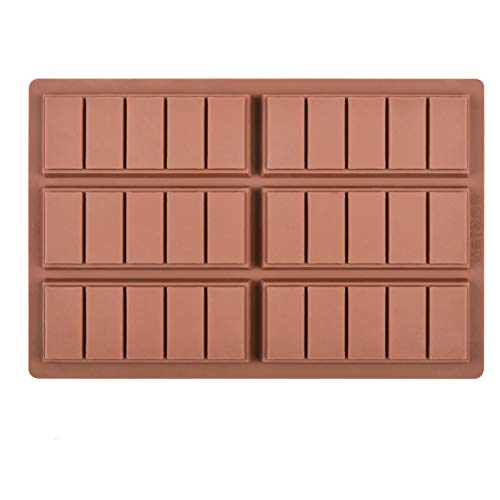 Fimary Silicone Chocolate Bar Sweet Molds Hot Chocolate Moulds Rectangle Baking Silicon Bakeware Molds Shape Wax Flexible Molds, Pack of 1 (style 2)