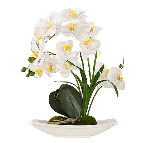 ENCOFT Kunstpflanze Künstliche Blumen aus Eva Wohndeko Kunstbulme mit Übertopf Garten Balkon Wohnzimmer Hochzeit(37cm, Weiss)