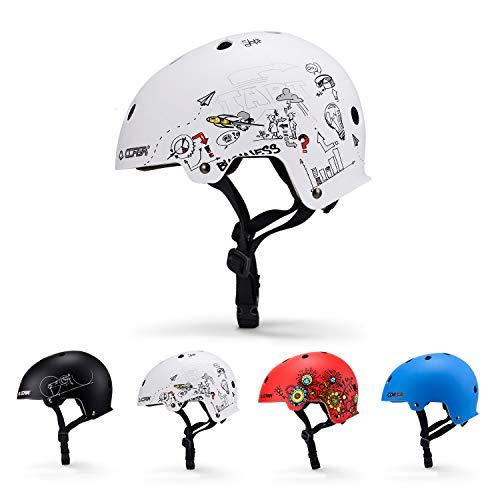 Asvert Casco de bicicleta ajustable para Bicicleta de montaña, Baby Scooter, Casco de bicicleta urbana para BMX, Montañismo, Escalada, Ciclismo sobre ruedas, Protección deportiva para niños [Blanco-3]