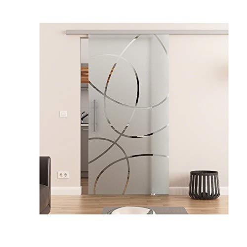 Glas Schiebetür mit Dorma Agile 50 ® Laufschiene, Sicherheitsglas in Ellipsen-Design-Frankfurt (Sandstrahlung) ESG - Glas & Laufschiene Made in Germany - Glas-Abmessungen: 775 x 2175 mm