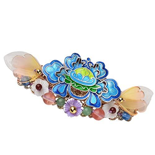 jojofuny Presilhas de flores Cloisonne para cabelo étnico, chinês, floral, vintage, para noivas, casamentos, eventos formais, joias, acessórios para mulheres, meninas, clipe de cabelo, lembrancinha de Natal