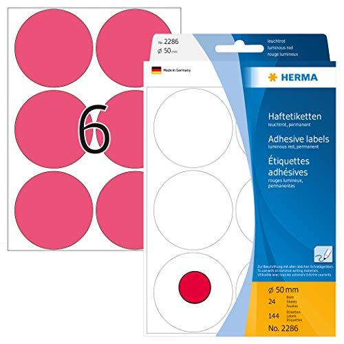 HERMA 2286 Vielzweck-Etiketten / Farbpunkte rund (Ø 50 mm, 24 Blatt, Papier, matt) selbstklebend, permanent haftende Markierungspunkte zur Handbeschriftung, 144 Klebepunkte, leuchtrot