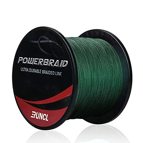 RUNCL PowerBraid Braided Fishing Line, Ultra Durable Braided Line 4 Strands - Seamless Weaving Tech, Enhanced Coating Tech, Zero Stretch, High Sensitivity (Moss Green, 300Yds, 40LB(18.1kgs))