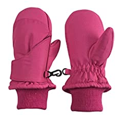 EASY TO PUT ON AND STAYS ON: The mittens are specially designed with a large flap that opens extra wide, and there is elastic in the wrist area, which allows plenty of room to fit small hands inside and to find the thumb holes. The hook and loop clos...