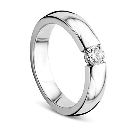 Orovi Ring für Damen Verlobungsring Gold Solitärring Diamantring 14 Karat (585) Brillianten 0.30ct Weißgold Ring mit Diamanten Ring Handgemacht in Italien