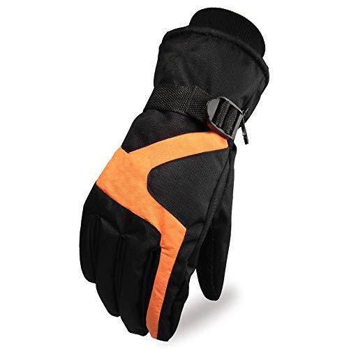 Yjdr - Guanti da sci da uomo, per il freddo e il caldo, in velluto, per moto e equitazione, antivento, impermeabili, guanti da equitazione Arancione