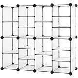 SONGMICS Shoe Rack, Interlocking Storage Organizer Unit, 20-Slot Rectangular Cube Storage with Hooks, Adjustable Shelves, Modular Cabinet, for Closet Entryway Hallway, Translucent White ULPC504W