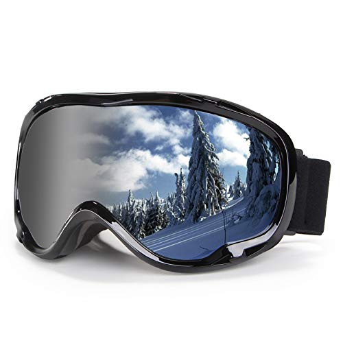 Skiing Goggles Snowboard Goggles over Glasses Goggles OTG 100% UV Protection Snowmobile Goggles Anti Fog Winter Snow Sports Goggles Dual Layers Lens Snow Goggles for Men, Women & Youth, Silver Lens
