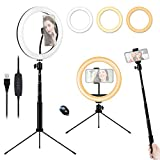 10'' Ring Light with Tripod Stand & Phone Holder, Dimmable Desktop LED Ring