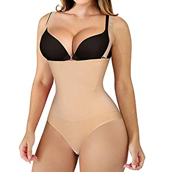 Nebility Women Waist Trainer Shapewear Thong Bodysuit Seamless Tummy Control Panty Faja Open Bust Body Shaper  XL/2XL Beige