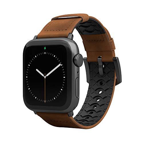 Groove Life - Correa de reloj Vulcan compatible con Apple Watch 38 mm, 40 mm, 42 mm, 44 mm, bandas de cuero transpirable y silicona serie 5, 4, 3 y 2 1, Trek ancho y largo espacio gris