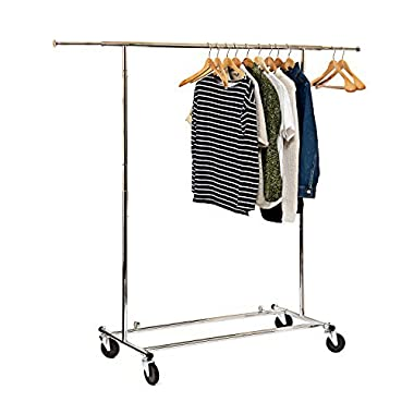 Basics Hardware Elegant Commercial Grade Clothing Garment Rack, Extendable Hanging Rack, Chrome Rolling Rack